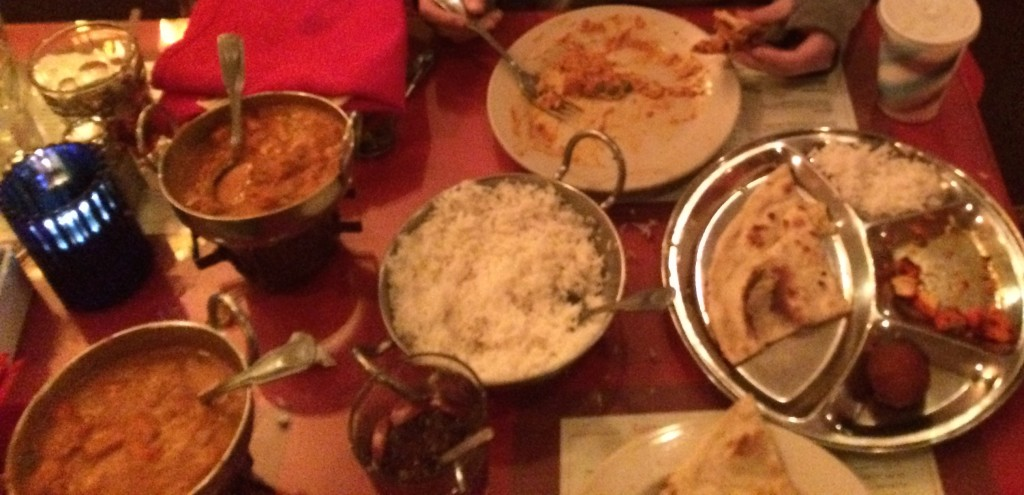 My family and I eating at Sargam Indian Cuisine